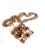 Vintage Sarah Coventry Starburst Necklace Topaz and Yellow Rhinestones P... - $28.00