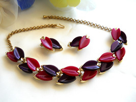 Purple and Burgundy Thermoplastic Necklace & Earring Set Demi Parure Vin... - $45.00