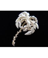 Cream Enamel Palm Tree Brooch Pin Vintage - $12.00