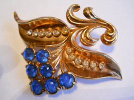 Flower Brooch Blue & Clear Rhinestones Rose Gold Wash Pot Metal Vintage - $32.50