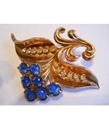 Flower Brooch Blue & Clear Rhinestones Rose Gold Wash Pot Metal Vintage - $32.50