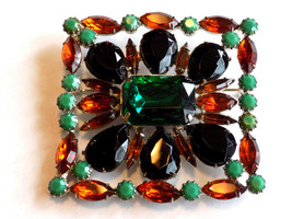 Vintage Rhinestone Brooch Picture Frame Style Green, Black, Amber, Topaz... - $65.00