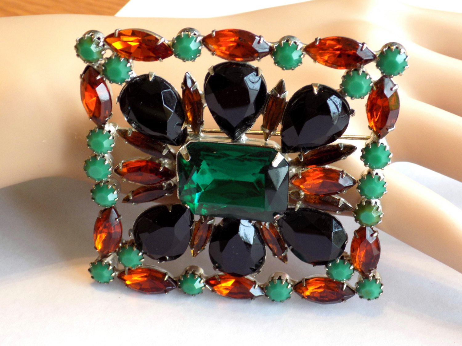 Vintage Rhinestone Brooch Picture Frame Style Green, Black, Amber, Topaz Rhinest