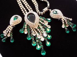 Necklace & Earring Set Emerald Green and Clear Rhinestone Dangle Drop Ne... - $225.00