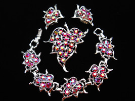 Sarah Coventry Dazzling Aurora Red Rhinestone Bracelet, Brooch & Earring Set Par - $55.00