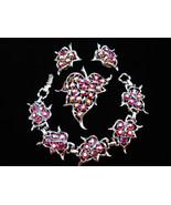 Sarah Coventry Dazzling Aurora Red Rhinestone Bracelet, Brooch & Earring... - $55.00