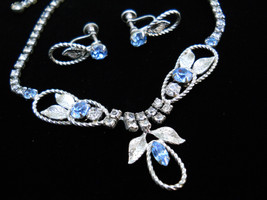 Blue and Clear Rhinestone Necklace and Earring Set Vintage - $36.50