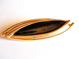 Vintage Signed Monet Black Enamel and Gold Tone Brooch Pin - $12.00