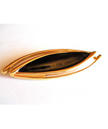 Vintage Signed Monet Black Enamel and Gold Tone Brooch Pin - $12.00