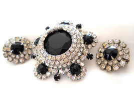 DeLizza & Elster Juliana Black and Clear Rhinestone Brooch and Earring S... - $68.00