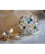 Alice Caviness Aurora Borealis Crystal Bead Flower Brooch Vintage Signed - $55.18 CAD