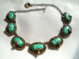 Green Art Glass Stone Necklace, With Rhinestones and Faux Pearls Vintage - $65.00