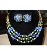 Vendome Triple Strand Crystal Necklace & Earring Set Vintage Green Blue ... - $145.00