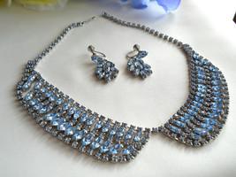 Vintage Ice Blue Rhinestone Bib Style Necklace & Earring Set - $75.00