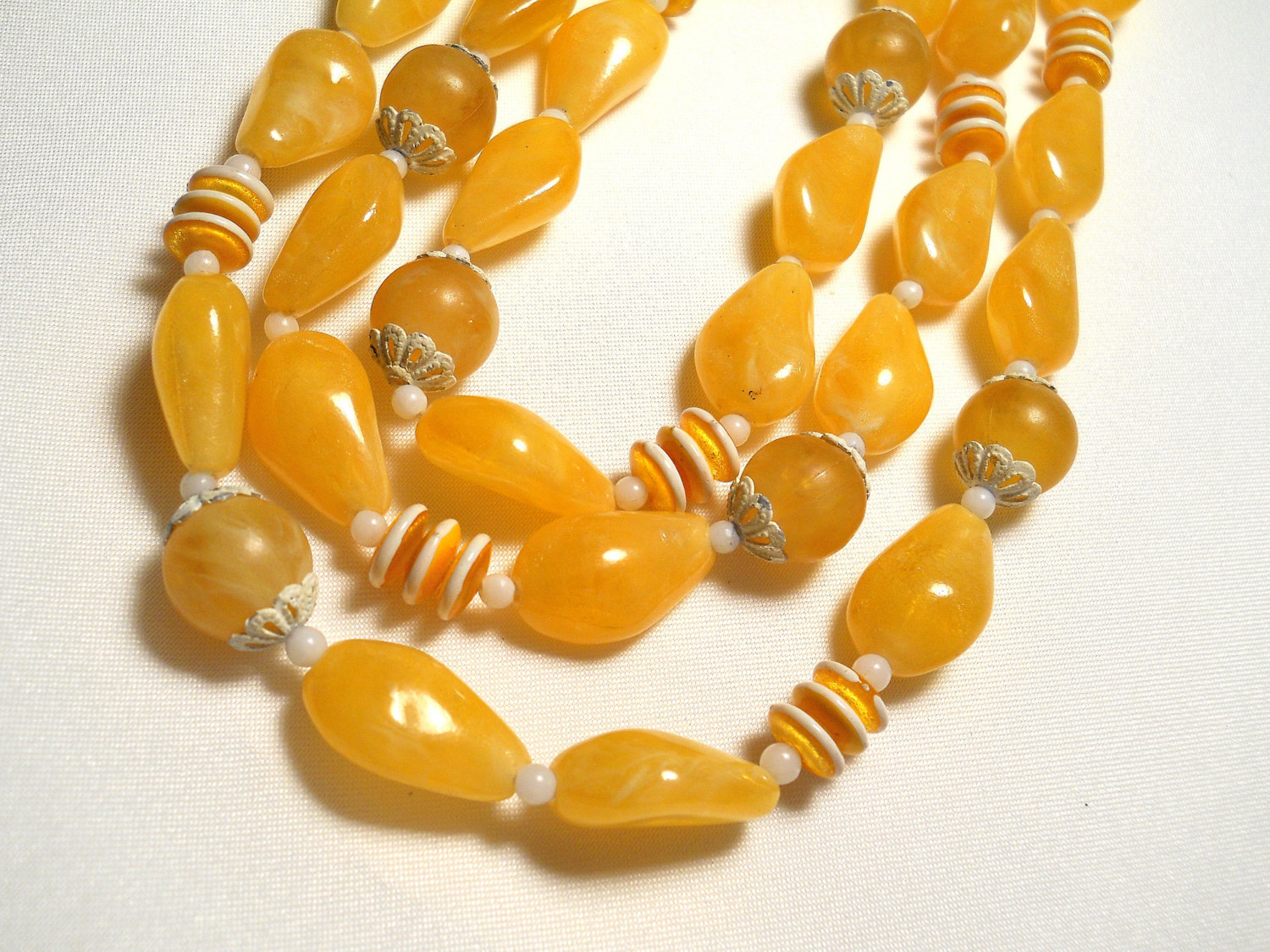 Primary image for Sunny Yellow and White Plastic Bead Triple Strand Necklace Hong Kong Vintage