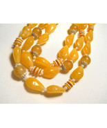 Sunny Yellow and White Plastic Bead Triple Strand Necklace Hong Kong Vin... - $22.00