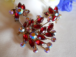 Red and Blue AB Rhinestone Brooch and Earring Set Demi-Parure Vintage - $40.00