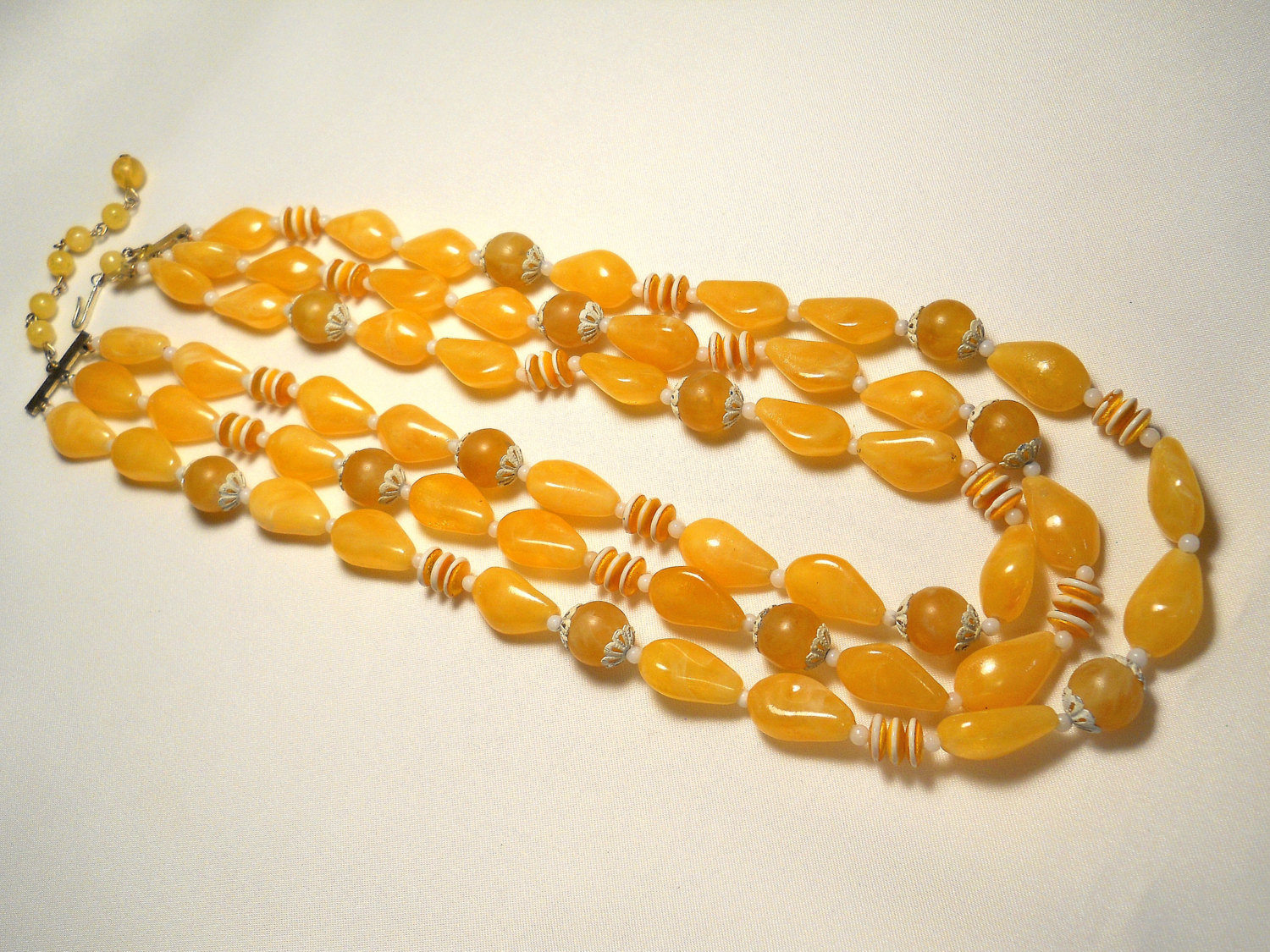 Sunny Yellow and White Plastic Bead Triple Strand Necklace Hong Kong Vintage image 2