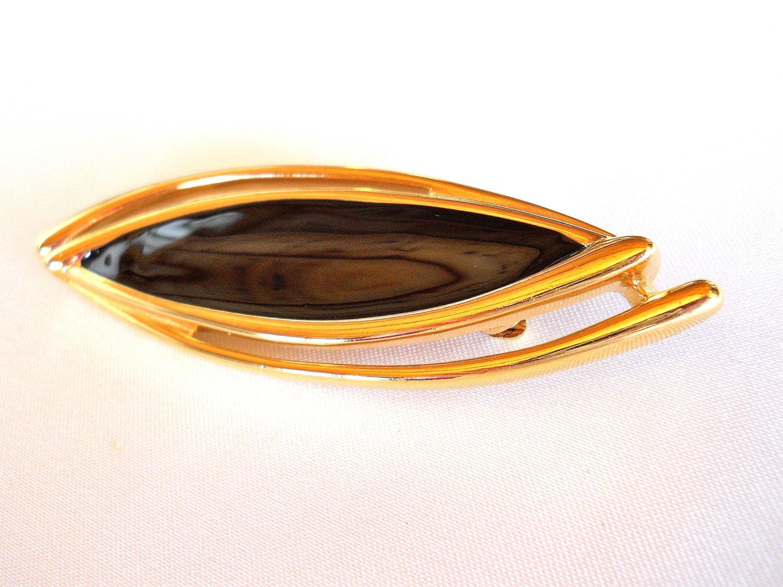 Vintage Signed Monet Black Enamel and Gold Tone Brooch Pin