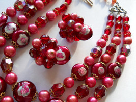 Triple Strand Necklace & Earring Set, Red Glass Bead, Faux Pearl, Painte... - $45.00