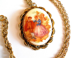 Pendant Necklace Fragonard Transfer Pattern on Porcelain Vintage - $22.00