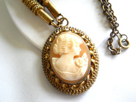 Carved Shell Cameo Pendant Necklace Victorian Style Vintage image 2