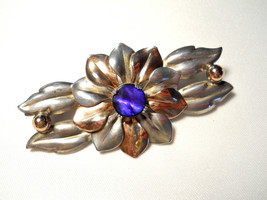 Kreisler Sterling Flower Brooch Blue Stone Center Signed Vintage 1940s - $38.00