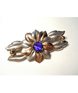 Kreisler Sterling Flower Brooch Blue Stone Center Signed Vintage 1940s - $38.00