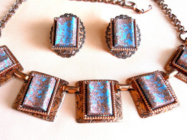 Copper Necklace and Earring Set With Copper Flecked Faux Turquoise Stone... - $35.00