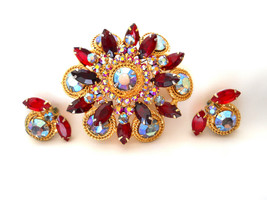 D&E Juliana Red and AB Rhinestone Brooch and Earring Set Demi Parure Vin... - $125.00