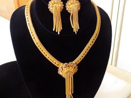Golden Amber Rhinestone Mesh Necklace and Earring Set Light Topaz Rhines... - $175.00