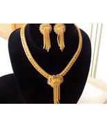 Golden Amber Rhinestone Mesh Necklace and Earring Set Light Topaz Rhinestone Wat - €152,91 EUR