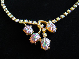 Vintage Necklace AB Rhinestone & Molded Art Glass Choker Style - $28.00