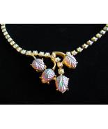 Vintage Necklace AB Rhinestone & Molded Art Glass Choker Style - $28.00
