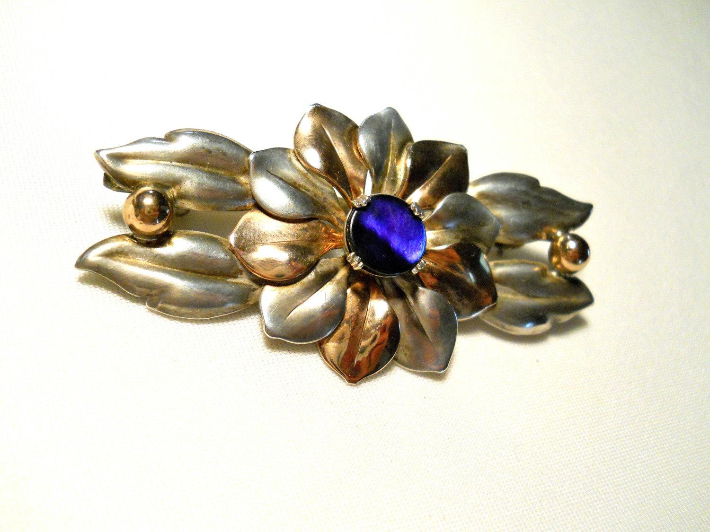 Kreisler Sterling Flower Brooch Blue Stone Center Signed Vintage 1940s