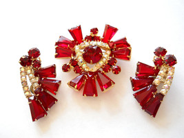 Juliana Book Piece Ruby Red Keystone Brooch and Earring Set Demi Parure ... - $165.00