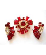 Juliana Book Piece Ruby Red Keystone Brooch and Earring Set Demi Parure ... - $165.00