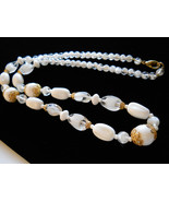 """Beaded Necklace 24"""" Milk Glass and Givre Glass Gold Tone - $45.00"""