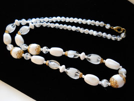 """Beaded Necklace 24"""" Milk Glass and Givre Glass Gold Tone image 3"""