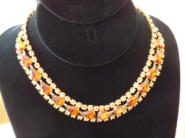 Rhinestone Bib Necklace Root Beer Topaz Prong Set Gold Tone Vintage - $65.00