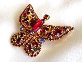 Vintage Rhinestone Butterfly Brooch Pin Red, Blue & Green Rhinestones Fi... - $45.00
