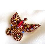 Vintage Rhinestone Butterfly Brooch Pin Red, Blue & Green Rhinestones Fi... - $45.00