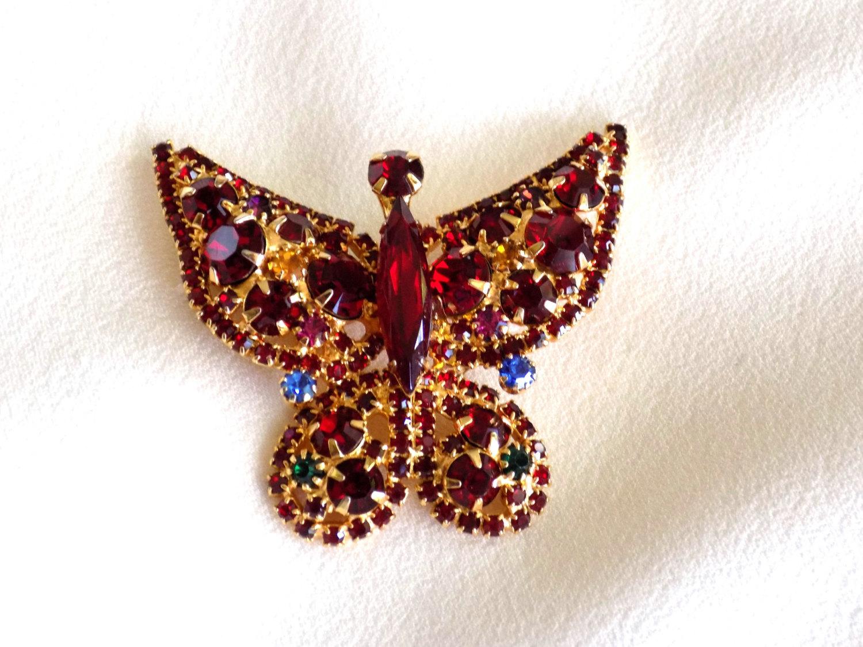 Vintage Rhinestone Butterfly Brooch Pin Red, Blue & Green Rhinestones Figural Br