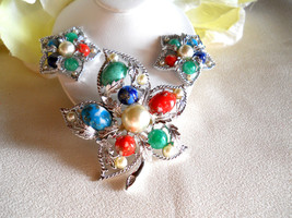 Sarah Coventry Fantasy Brooch and Earring Set Vintage - $34.00