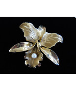 Orchid Flower Brooch Pin Gold Tone Faux Pearl Center Vintage - $22.00