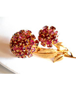 Pink and Berry Red Rhinestone Flower Brooch Pin Vintage - $25.00