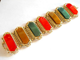 Bracelet Orange, Gold & Green Thermoset Plastic Link Style 8 Inch Vintage - $32.50