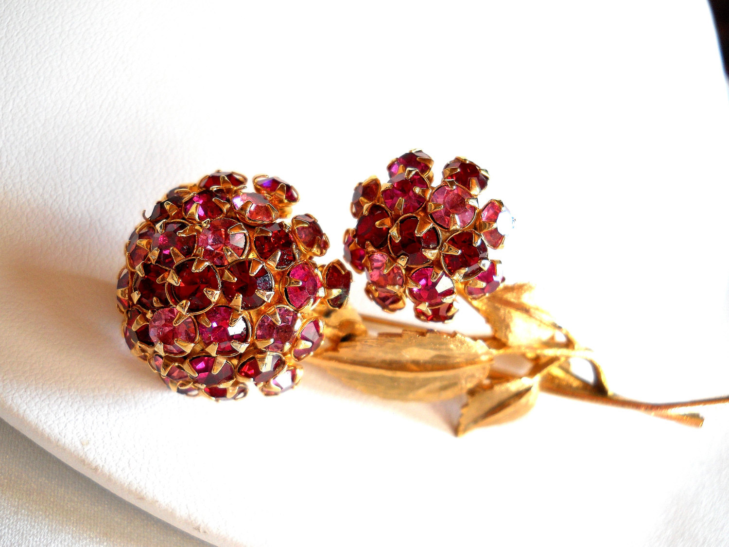 Pink and Berry Red Rhinestone Flower Brooch Pin Vintage