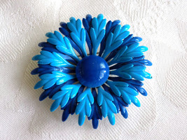 Vintage Flower Power Enamel Brooch Blue and Bright Teal Enamel Flower Pi... - $15.00