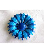 Vintage Flower Power Enamel Brooch Blue and Bright Teal Enamel Flower Pi... - $15.00
